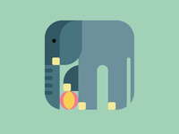 Rounded Square Elephant with ball