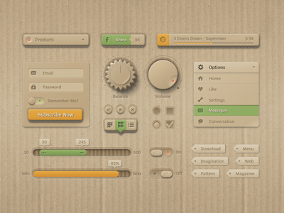 UI Kit of corrugated paper style kit loveui corrugated paper