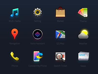 Iconset of car console ui icon