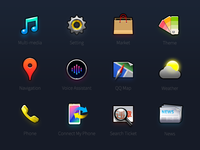 Iconset of car console