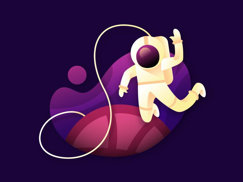 Hello Space space astronaut ios logo minimal branding vector ui flat animation design illustration