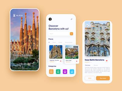 Travel Guide Barcelona mobile ux ui clean guide tourist barcelona travel app