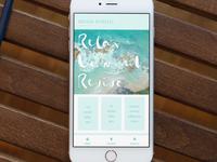 Travel site app homepage