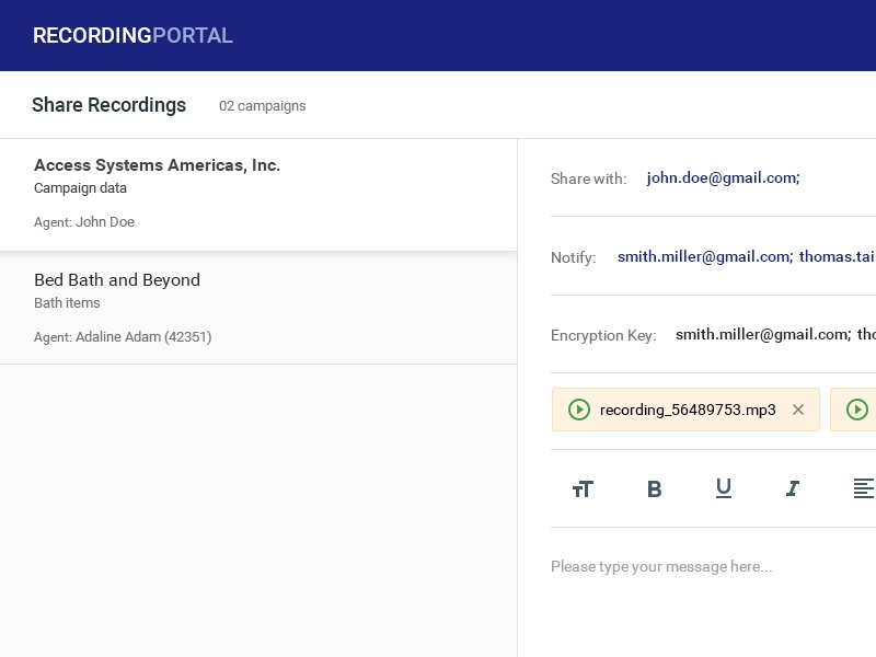Share Recording message selection client ui design email
