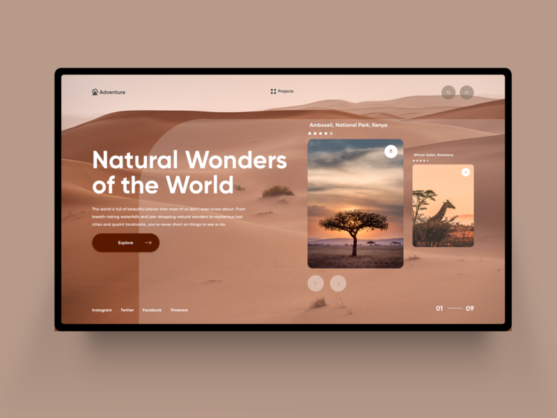 Traveling Website Homepage web design logo typogaphy clean  creative photograhy minimal traveling nature desert weekly ui web homepage design
