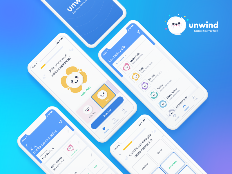 Mobile App UI - Unwind feels feeling apple ios mobile design uxdesign ui design adobe illustrator adobexd