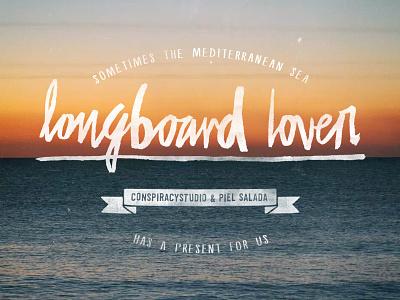 Longboard lover lettering pen calligraphy brush type marker logo sunset beach handmade font ink