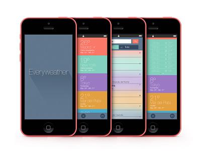 Everyweather app ui ux iphone flat weather