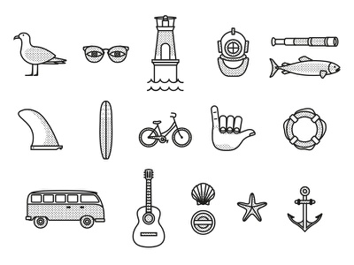 Cece surfboards fins icons flat icon illustration fins surf lighthouse music