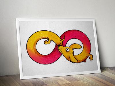 infinity illustration poster handmade infinity dog gradient halftone texture
