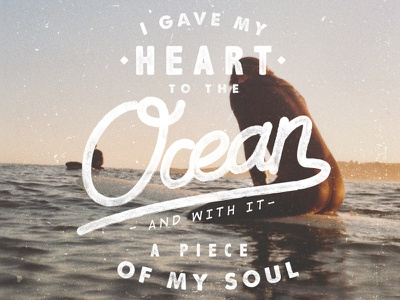heart / ocean lettering handmade type surf texture