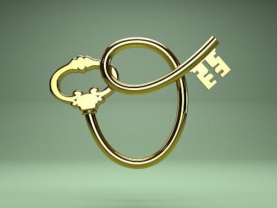 O Key 3d cinema4d icon app ios ui type lettering key letter metal gold