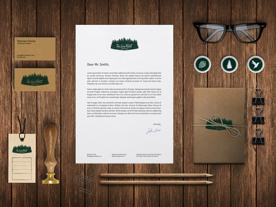 The Love Forest loveforest wedding logo identity forest illustrator vector stationery