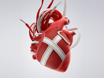 MUNICH PASSION barcelona shoe sneaker passion red love advertising ad vray cinema4d heart 3d