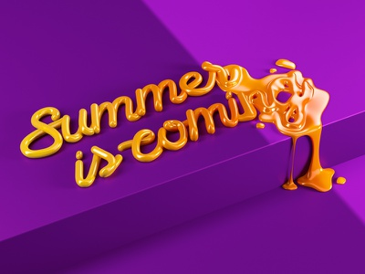 Summer Dis coming illustration barcelona summer vray cinema4d icon logo sentence type lettering 3d