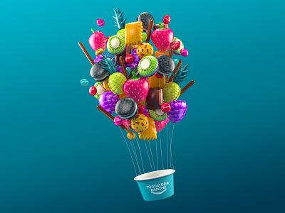 Danone barcelona pineapple kiwi balloon blue love advertising ad vray cinema4d air balloon 3d