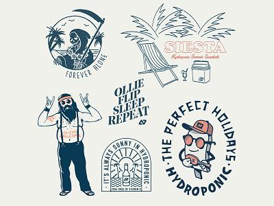 HYDROPONIC T-SHIRT GRAPHICS palm hippie cartoon line art logo badge tshirt type icecream beach beer death summer vector lettering illustrator icon