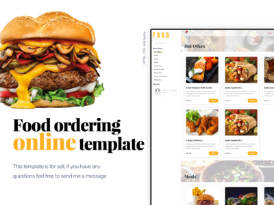Food ordering online template for sell . pizza burgers template ordering food html modern clean website design website