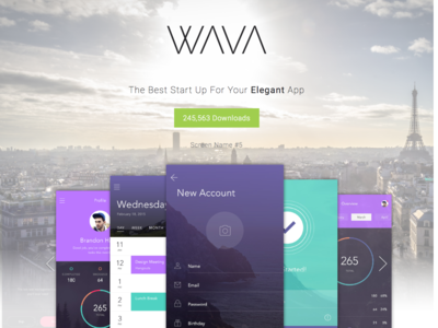 Wava App Landing Page android app design ios android website app
