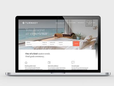 The new TurnKey website typography branding vacation rentals design website