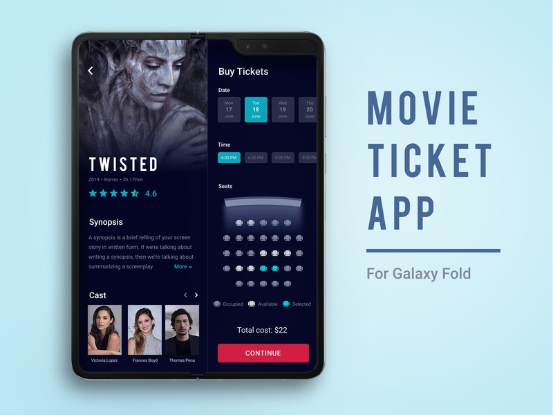 Movie Ticket App Concept mobile app design mobile ui dark ui cinema app samsung galaxy galaxy fold mobile app movie ticket ticket movie