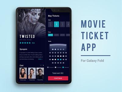 Movie Ticket App Concept mobile app design mobile ui dark ui cinema app samsung galaxy galaxy fold mobile app movie ticket ticket movie
