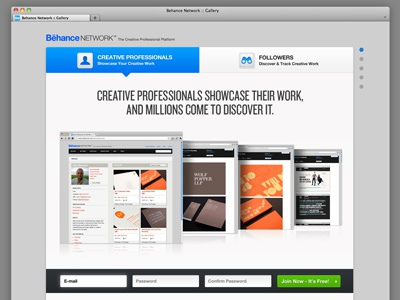 New Behance Tour Page ux web design ui design white blue navigation dropdown toggle
