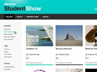 Behance Student Show navigation green white design ui web design ux