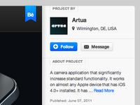Behance Project Page tags navigation buttons blue black design ui web design ribbon behance