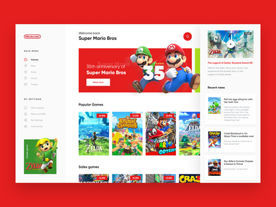 Nintendo E-shop Concept games red switch zelda ux ui interface mario nintendo