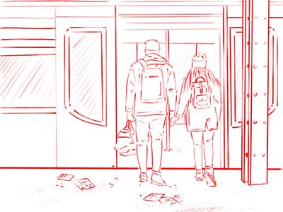 Trains travel subway station ux ui line art illustration sketch train couple