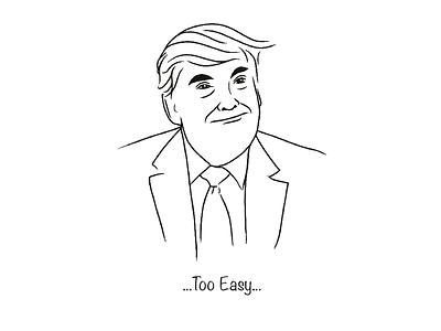 Too Easy ux ui politics demdebate trump line art illustration debate