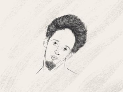 Pretty Boy illustration beard line art pretty character art sketch