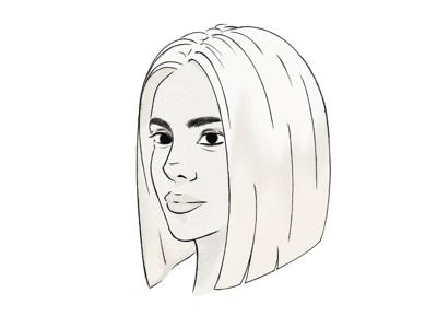 Woman procreate adobe illustration profile design character sketch doodle line art sketch