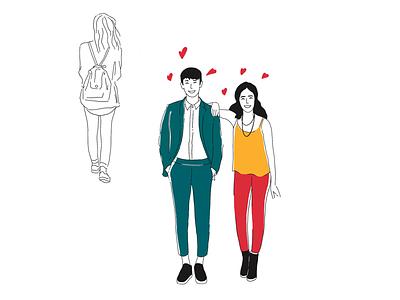 Romance sketch doodle ux ui illustration illustrator woman man romance love smile couple