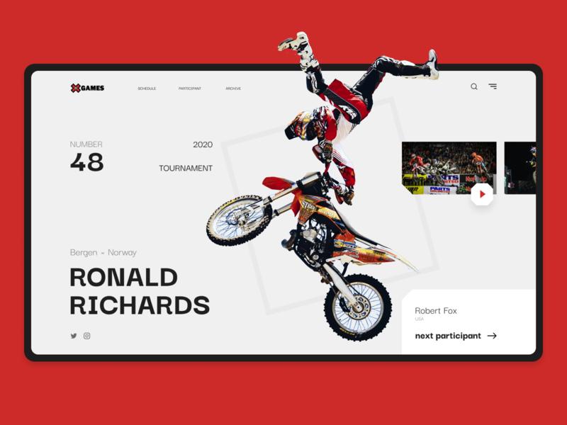 Website - Summer X Games 2020 sport games xgames motocycle motocross minimalistic grid website web ux ui designline design