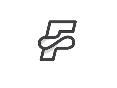 F monogram letter shadow line symbol mark logo design logo