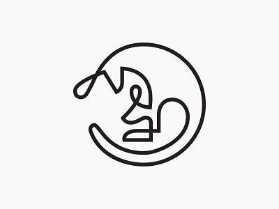Kangaroo Mother&Child design logotype symbol mark linelogo line