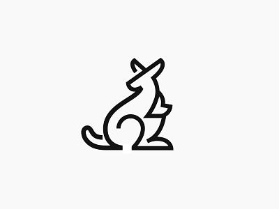 Kangaroo maternity kangaroo design logo animal line mark symbol