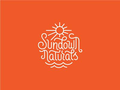 Sundown Naturals logotype wave sun lettering