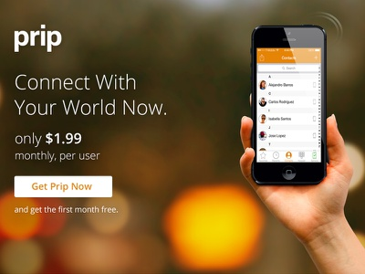 Prip wdg web development group landing page design connect phone app orange developed