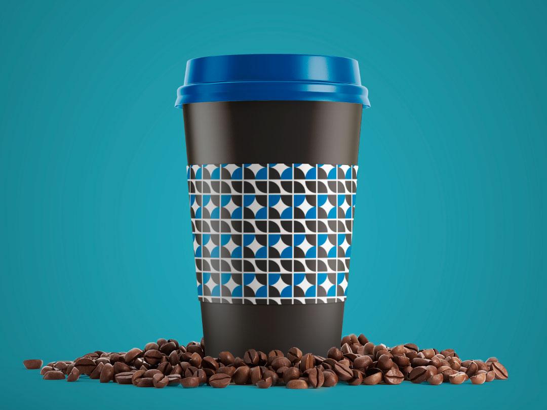 S coffee cup logo pattern mockup coffee cup
