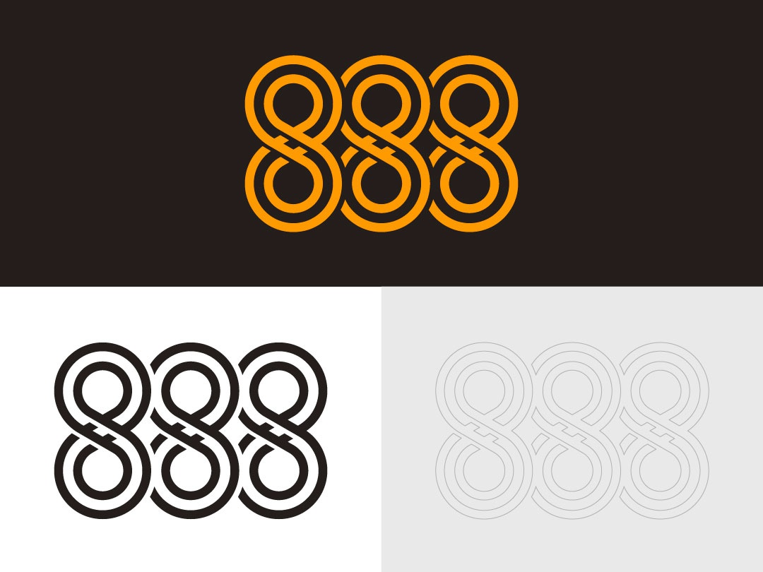 888 type logotype wordmark logo logomark icon web vector design typography illustration 888