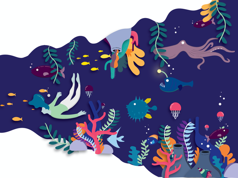 Underwater exploration animation vector design illustration