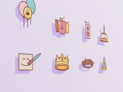Birthday Icons illustration branding icon ui design