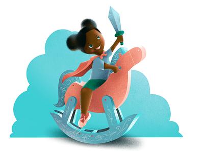 Dream cloud cute sword toy horse kids illustration
