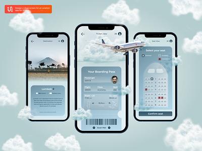 Aviation App Ideia dailyui iphone ticket creativity interface design plane aviation app design 2d ux minimal figma adobe photoshop ios app graphicdesign design ui