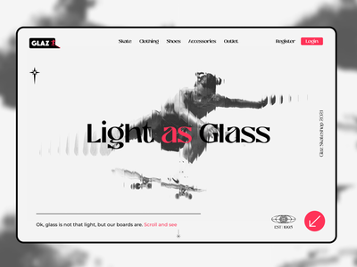 Light as Glass*   Landing Page website graphic design heroimage effect landing page logo branding graphicdesign dailyui ux design ui minimal
