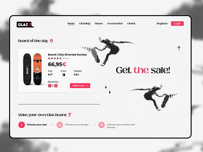 Glaz Skateshop   Section 2 clean website landingpage vector logo branding graphicdesign dailyui ux design ui minimal