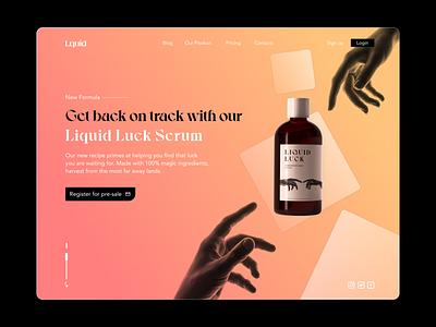 Liquid Luck   Landing Page gradient explore brand web landingpage website branding graphicdesign dailyui design ui minimal